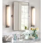 bright, clean bathroom with elongated light fixtures to either side of the mirror