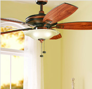 traditional wooden ceiling fan with bowl light fixture