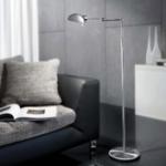 pharmacy floor lamp in modern greyscale living room
