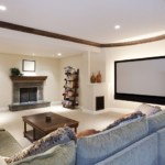 home theater with recessed lighting
